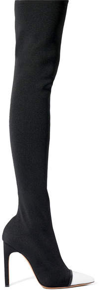 Givenchy - Leather-trimmed Stretch-knit Over-the-knee Boots - Black