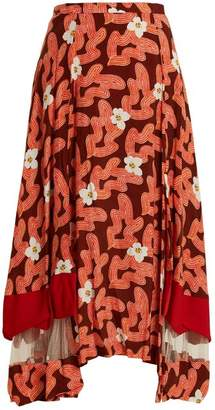 Toga - Abstract Floral Print Panelled Midi Skirt - Womens - Red
