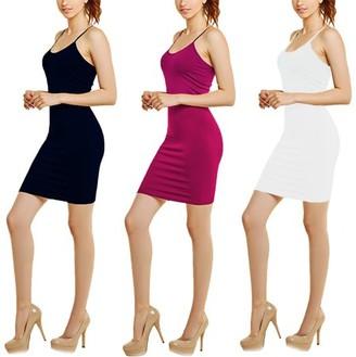 Glass House Apparel Women's 3-Pack Seamless Spaghetti Strap Bodycon Dress