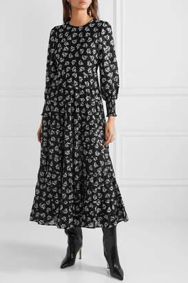 Rixo Pip Floral-print Tiered Fil Coupé Cotton Maxi Dress - Black