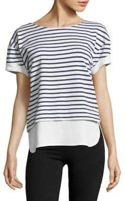 Andrew Marc Performance Short-Sleeve Striped Twofer Cotton Top
