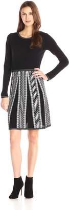 London Times Women's Two Tone Long Sleeve Full Skirt Sweater Dress, Black/Ivory
