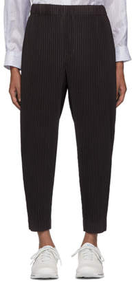 Issey Miyake Homme Plisse Grey Pleated Tapered Trousers