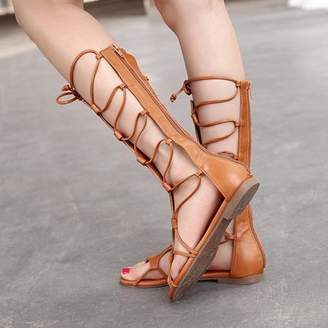 fullofhappy Women Summer Sandals Soft PU Leather Rubber Shoes Knee Height Straps Adjustable Women Sandals Ladies Shoes Size 36
