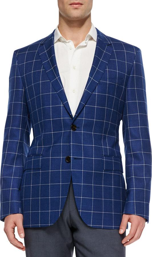 HUGO BOSS Windowpane-Check Sport Coat, Blue