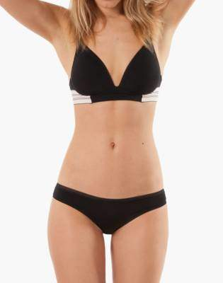 Madewell LIVELY Deep-V No-Wire Bra in Jet Black