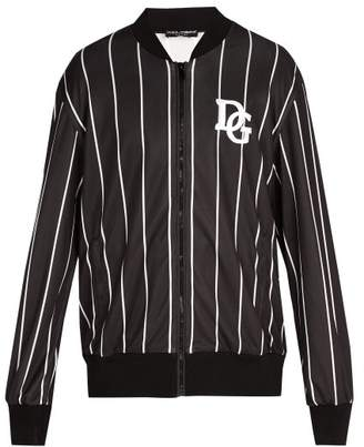 Dolce & Gabbana Varsity Striped Bomber Jacket - Mens - Black