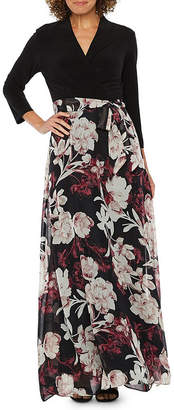 Chetta B BE BY Be by 3/4 Sleeve Floral Maxi Dress