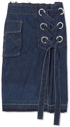 Sacai Lace-up Frayed Denim Skirt - Dark denim