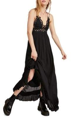 Free People Adella Embroidered Lace Ruffle Slip Dress