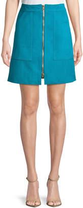 Diane von Furstenberg Patch Pocket Zip-Front Mini Skirt
