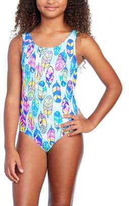 Wonder Nation Girls' Feather Print Fashion 1 Piece Swimsuit