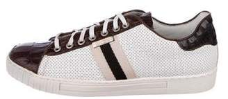 Canali Leather Striped Low-Top Sneakers