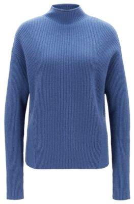 BOSS Hugo Relaxed-fit sweater in pure cashmere funnel neck L Blue