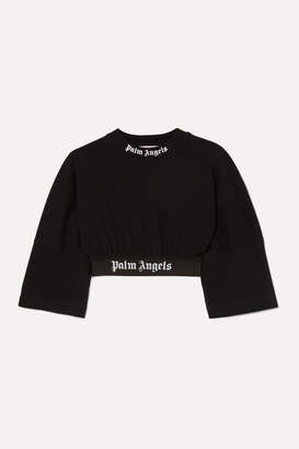 Palm Angels Cropped Jacquard-trimmed Printed Cotton-jersey T-shirt - Black