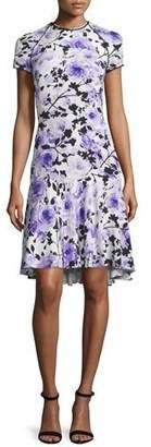 Naeem Khan Short-Sleeve Floral-Print Cocktail Dress, Purple/White