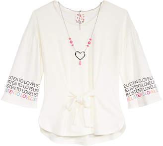 Belle Du Jour Big Girls Tie-Front Top & Necklace