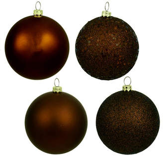 Asstd National Brand 4ct Chocolate Brown Shatterproof 4-Finish Christmas Ball Ornaments 6 (150mm)