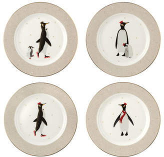 Portmeirion Sara Miller London Penguins Assorted Dessert Plates, Set of 4