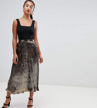Asos DESIGN Petite pleated sequin midi skirt