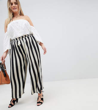 Glamorous Curve Relaxed Pants With Tassle Tie In Stripe