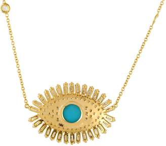 Artisan 18K Gold Diamond & Turquoise Evil Eye Necklace