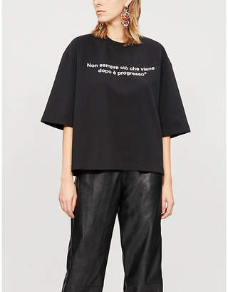 MSGM Slogan-print cotton-jersey T-shirt