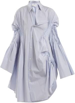 Junya Watanabe Asymmetric pintucked cotton shirtdress