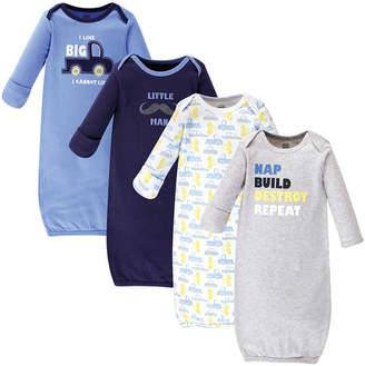 Luvable Friends Cotton Gowns, 4 Pack, 0-6 months