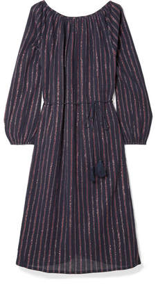 Mes Demoiselles Esmeralda Lyrical Striped Metallic Cotton-blend Dress - Midnight blue