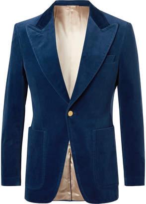 Gucci Blue Slim-Fit Cotton-Blend Velvet Blazer