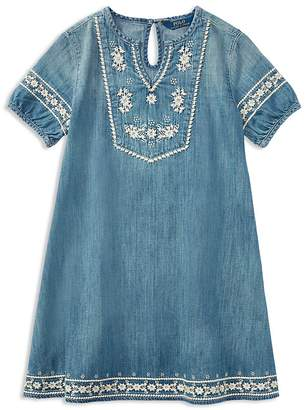 Polo Ralph Lauren Girls' Embroidered Denim Dress - Little Kid
