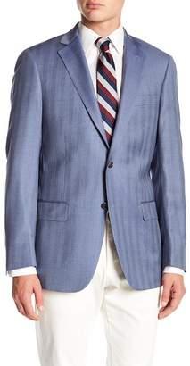 Hart Schaffner Marx Blue Chevron Stripe Notch Lapel Wool New York Fit Blazer