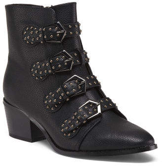 Four Buckle Booties With Studs