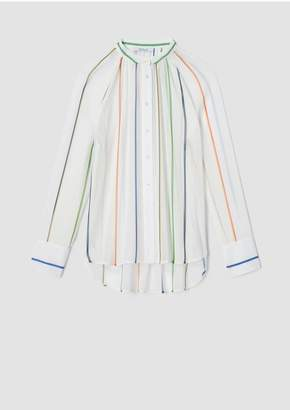 Derek Lam 10 Crosby Long Sleeve Rainbow Stripe Gathered Button-Down Blouse