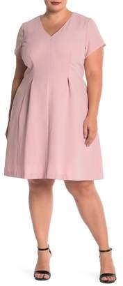 Eliza J V-Neck Fit & Flare Dress (Plus Size)