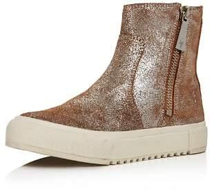 Frye Women's Gia Side Zip Distressed Metallic Leather High Top Sneakers