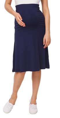 Happy Mama Boutique Happy Mama Womens Maternity Skater Skirt Overbump Elastic Panel Pregnancy. 983p (