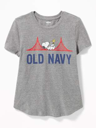 Old Navy Peanuts Snoopy Logo Tee for Girls