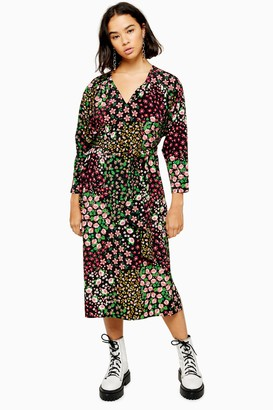 Topshop Womens Petite Floral Print Tie Smock Dress - Multi