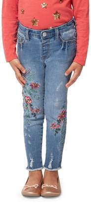 Dex Little Girl's Embroidered Frayed Jeans