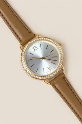 francesca's Elena Diamond Watch - Tan