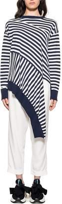 MM6 MAISON MARGIELA White/blue Asymmetrical Striped Sweater