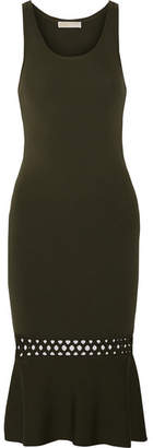 MICHAEL Michael Kors - Cutout Stretch-knit Dress - Dark green $175 thestylecure.com