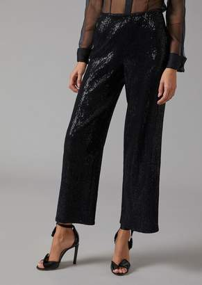 Giorgio Armani Palazzo Pants Covered With Sequins