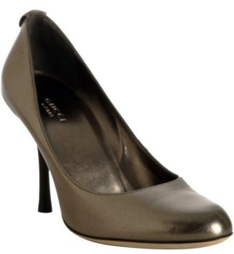 Gucci bronze metallic leather 'Swing' pumps