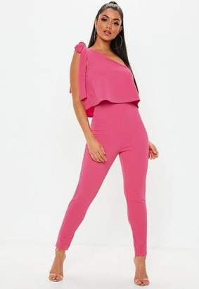 Missguided Pink One Shoulder Bow Skinny Romper