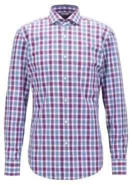 BOSS Hugo Slim-fit shirt in Vichy-check cotton poplin 15.5 Dark pink