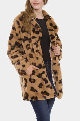 Embellish Leopard Fur Coat