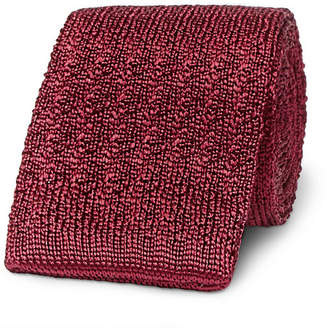 Brioni 6cm Knitted Silk Tie - Burgundy